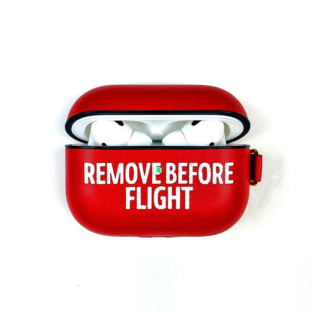 AirPods Pro Case Iconic Red Remove Before Flight Aviation Airplane Pilot Leather Case Gift Custom Personalize