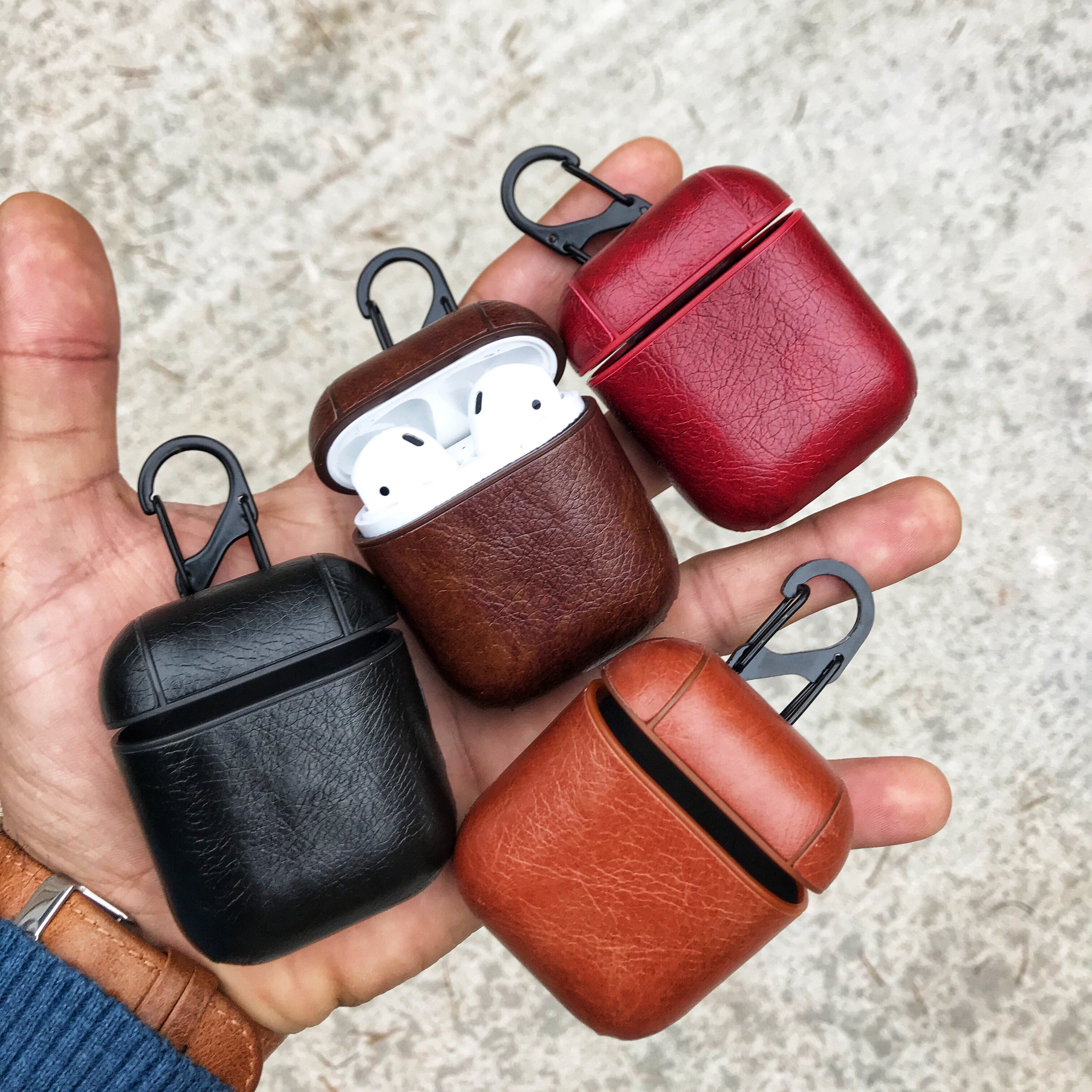 Classy Hook Series Leather Apple AirPods 1 & 2 Case With Button Access Custom Handmade Personalization | Brown Black Red Tan