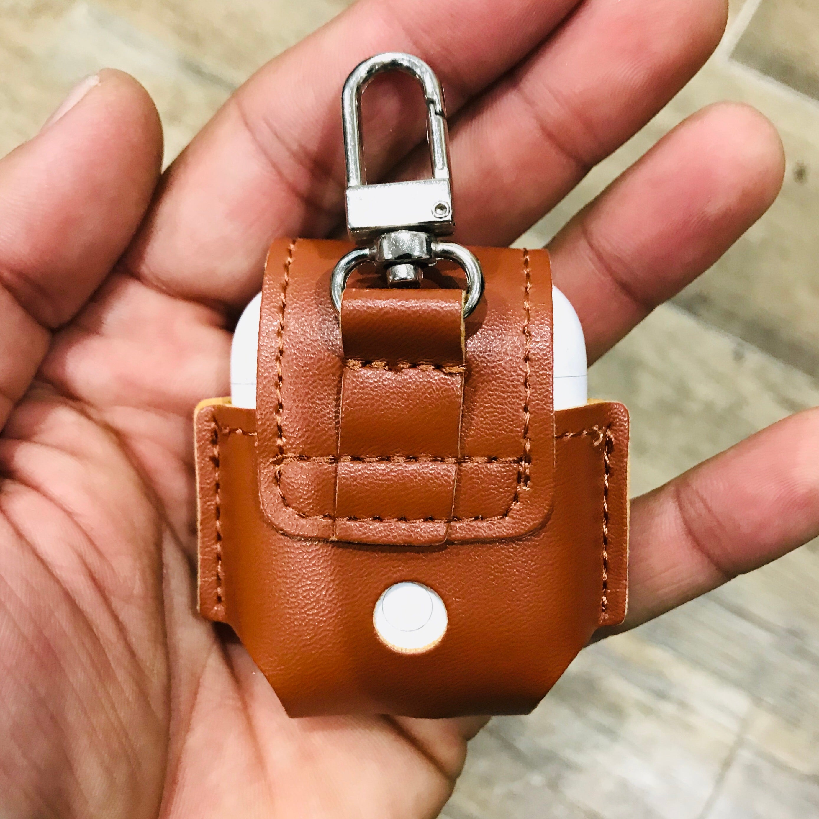 Brown Soft Leather with Metal Hook AirPods 1 & 2 Case Custom Handmade Personalization