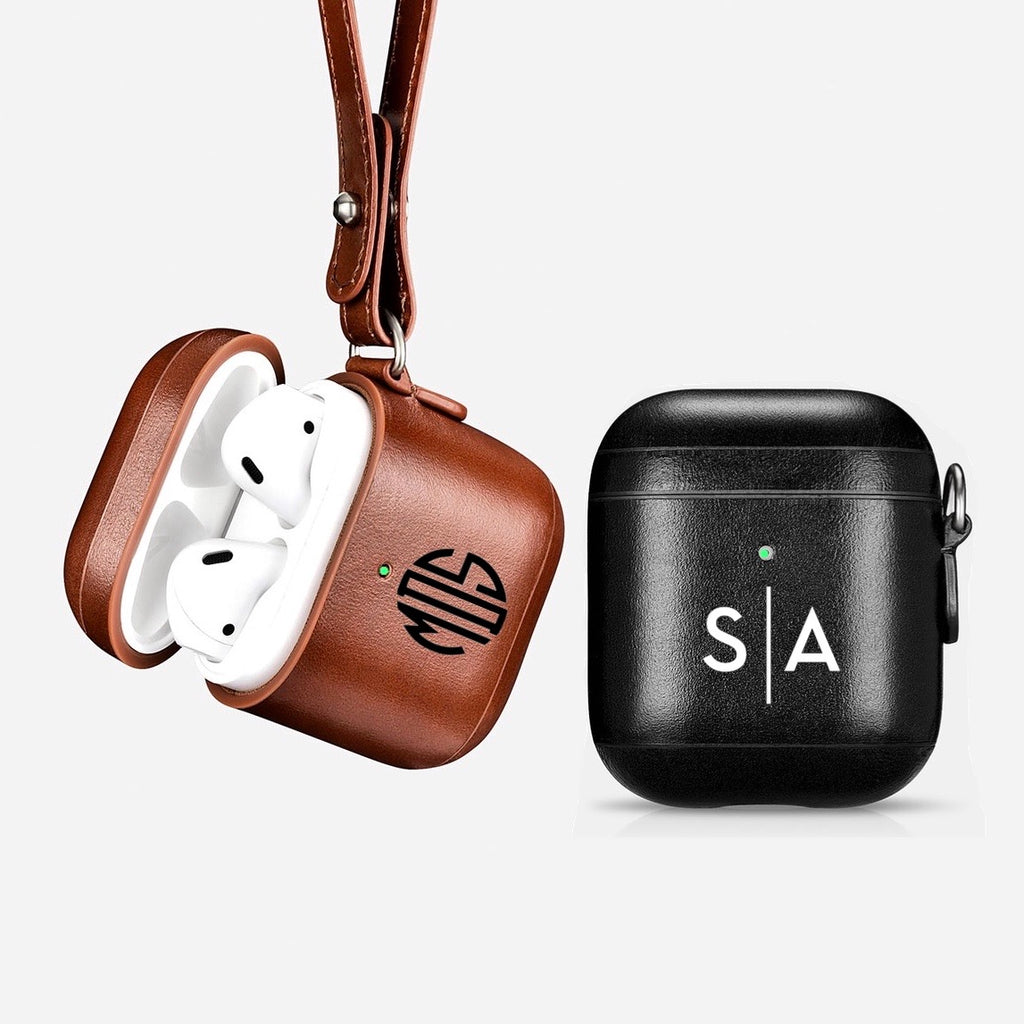 custom personalized airpods 2 with led hole leather black brown monogram