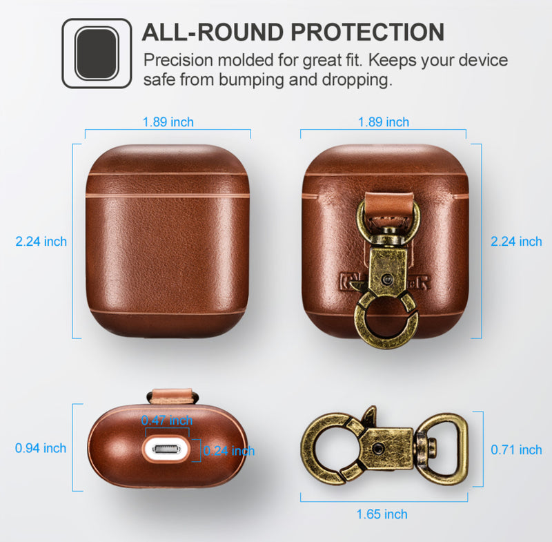 Luxury Dark Brown Premium Leather AirPods 1 & 2 Case Hook Series