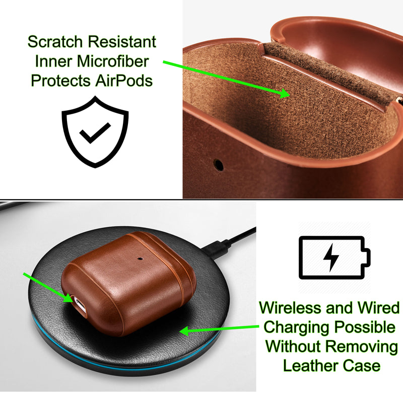 AirPods 2 (LED Visible) Personalized Custom Case Luxury Light Brown Genuine Leather with Keychain Color Embossing Personalization