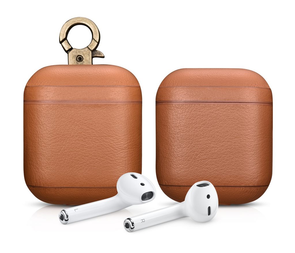 Napa Tan Personalized Leather AirPods 1 & 2 Case