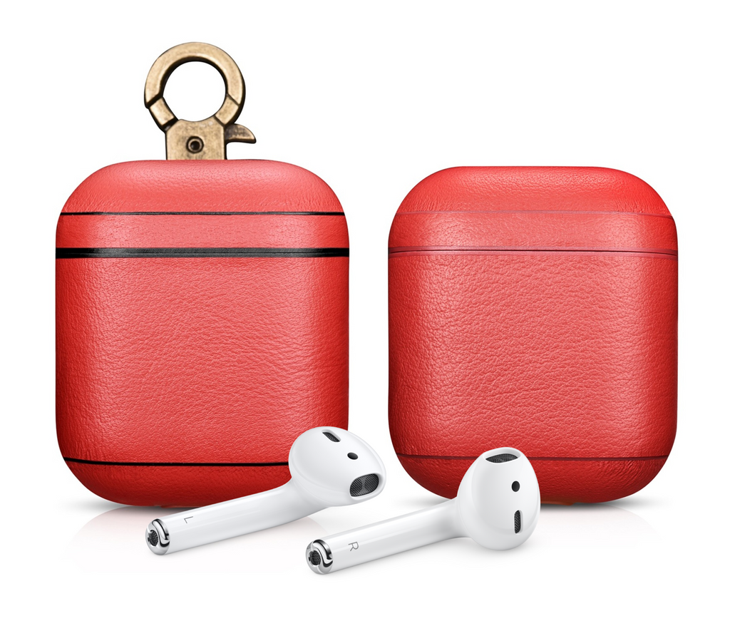 Napa Red Personalized Leather AirPods 1 & 2 Case
