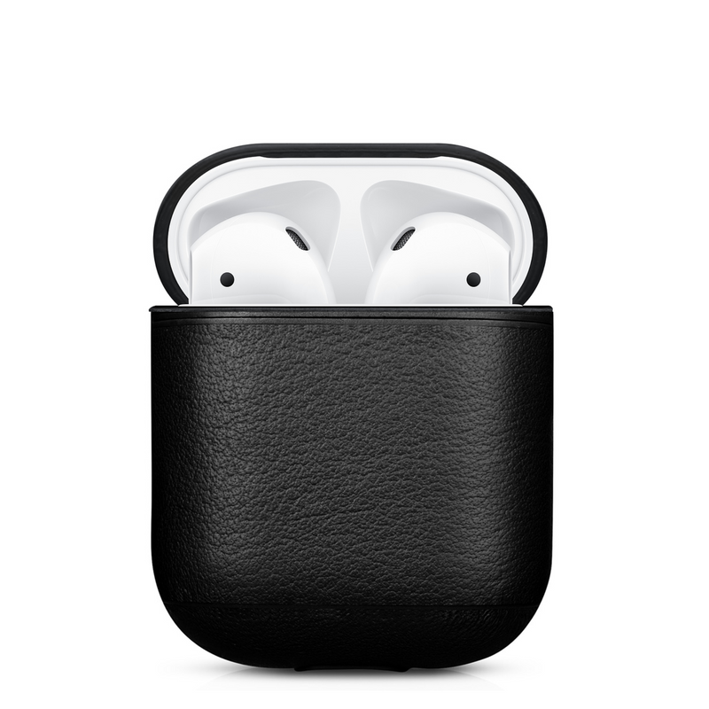 Black Edition Leather AirPods 1 & 2 Case with Color Embossing Personalization