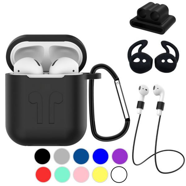 Apple AirPods 1 & 2 Strong Case Gear Bundle 5 in 1 Combo Accessories