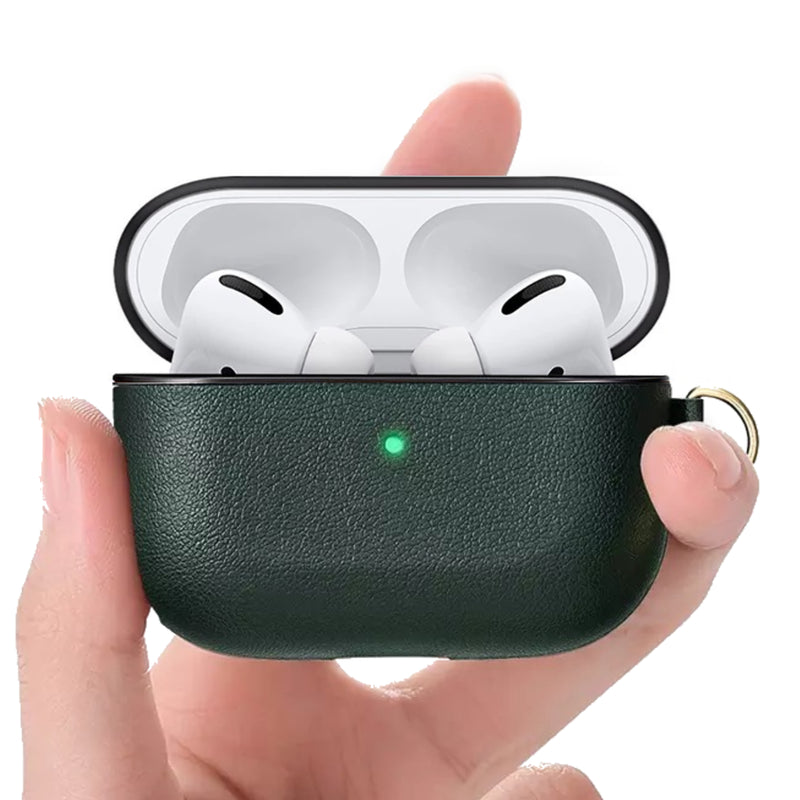 Custom AirPods Pro Case with Side Keychain Strap | Black Brown Blue Green Red