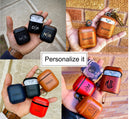 Custom Napa Leather Apple AirPods Case +Clip Black Blue Brown Red