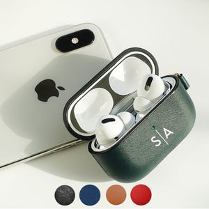 AirPods Pro Case Personalized Customized Leather with Color Embossing Monogram Personalization Engraving