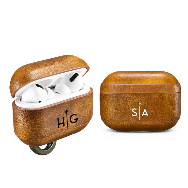 Custom AirPods Pro Genuine Waxed Leather Case With Metal Clip Personalize Color Emboss Monogram Engrave