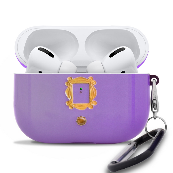 Apple AirPods Pro Case FRIENDS TV Show Purple Door Gold Frame Peephole with Metal Keychain Clip