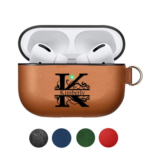 custom leather case for Apple AirPods earphones personalize personalization customization gift monogram