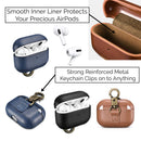 Custom AirPods Pro Nappa Leather Case with Metal Clip | Black Brown Navy Blue