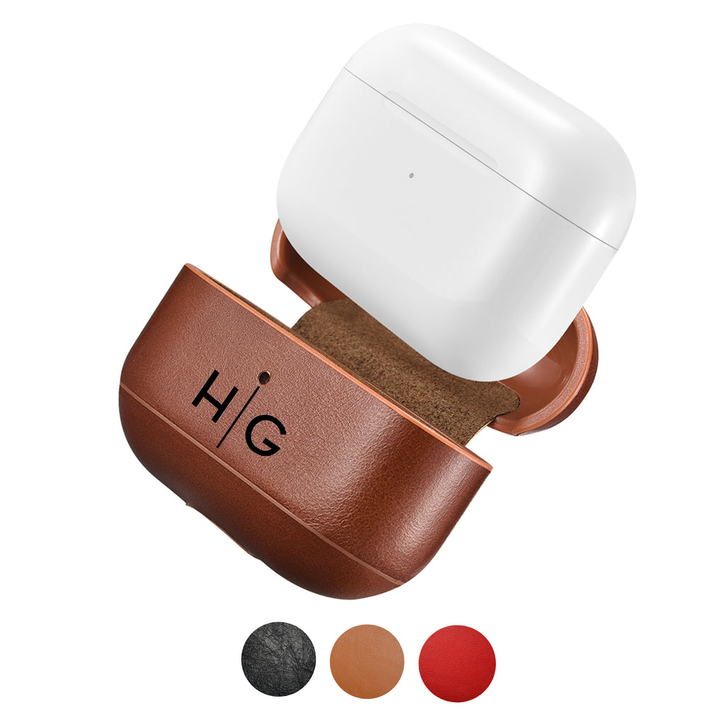 Custom AirPods Pro Case Genuine Leather Color Emboss Monogram Personalize Engrave