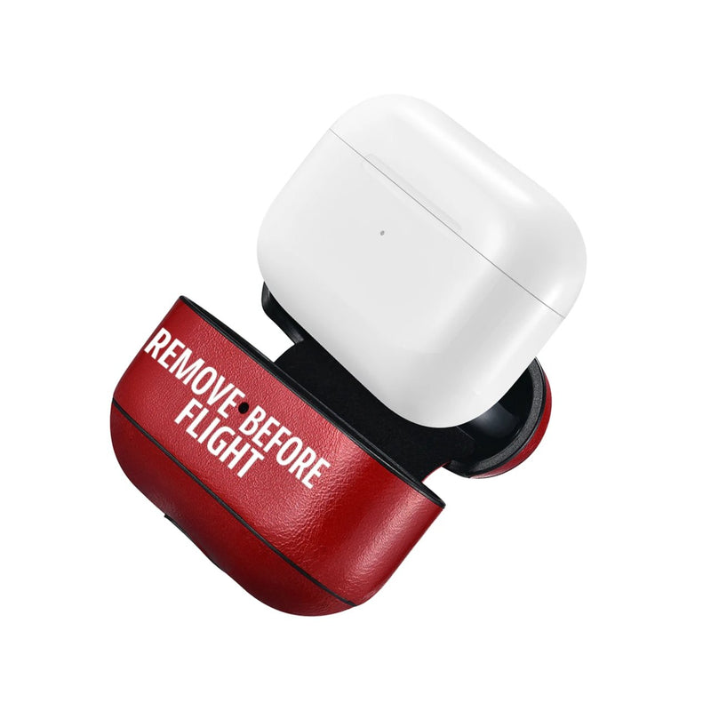 New AirPods Pro Case Metal Clip Iconic Red Remove Before Flight Aviation Airplane Pilot Leather Gift