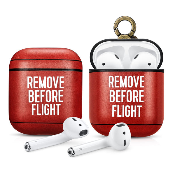 Iconic Red Remove Before Flight Aviation Leather Case for Apple AirPods 1 & 2