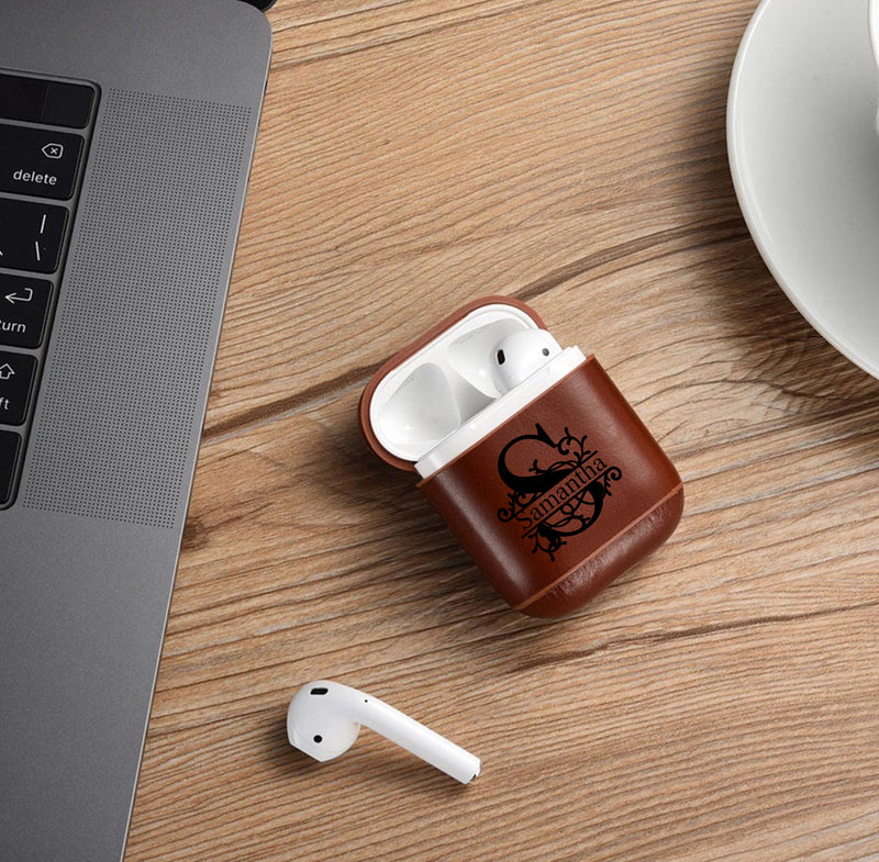 AirPods 1 & 2 Case Personalized Custom Leather Split Monogram Name Personalization Engraving