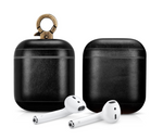 Vintage Black Personalized Leather AirPods 1 & 2 Case
