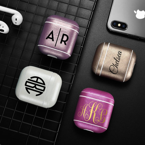 Classic Series Custom Leather Case Apple AirPods 1 & 2 Gold Custom Color Personalization Monogram