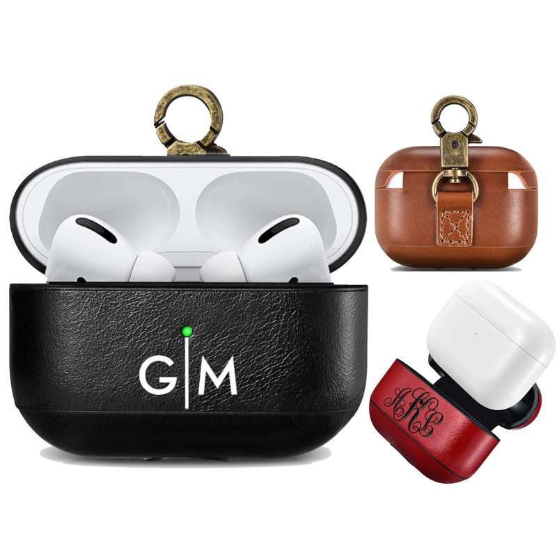 Custom AirPods Pro Vintage Cowhide Leather Case with Metal Clip