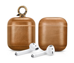 Vintage Tan Personalized Leather AirPods 1 & 2 Case