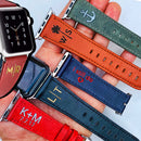 Personalized Leather Apple Watch Band All Series All Sizes Custom Monogram Name Color Engraving