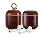 Luxury Dark Brown Personalized Leather AirPods 1 & 2 Case