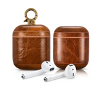 Luxury Light Brown Personalized Leather AirPods 1 & 2 Case