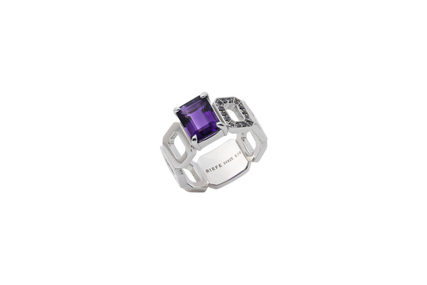 Incomplete Ring_SV925 × Amethyst