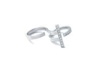 Stand Double Finger Ring_WG × White Dia 0.55ct