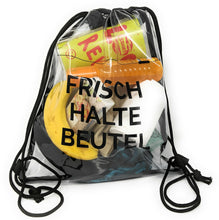 Laden Sie das Bild in den Galerie-Viewer, Rucksack durchsichtig, transparenter Turn-Beutel für Festival, Konzert, Party Clear Secure Safe Bag, Aufdruck: Frischhaltebeutel