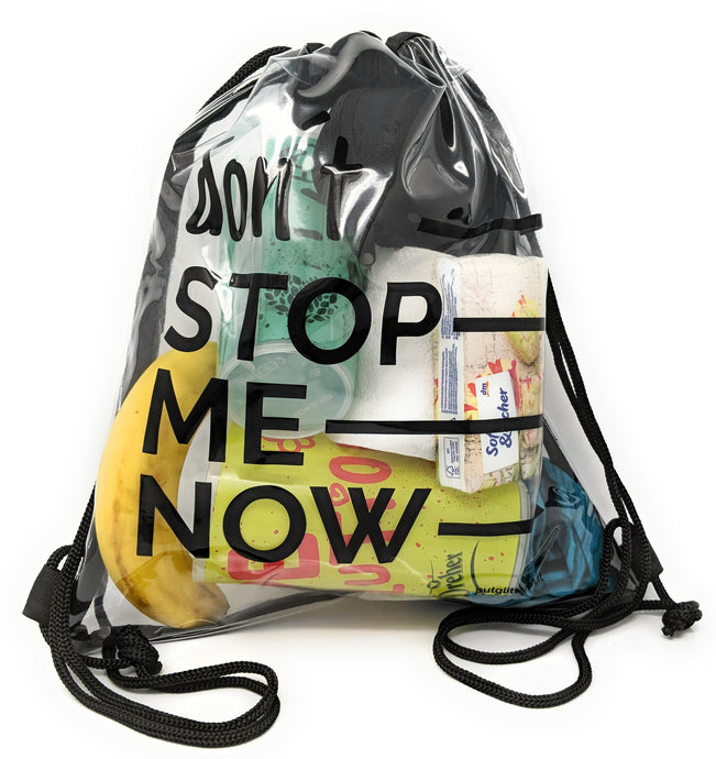 Rucksack durchsichtig, transparenter Turn-Beutel für Festival, Konzert, Party Clear Secure Safe Bag, Aufdruck: Don´t Stop Me Now