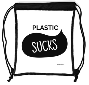 Rucksack durchsichtig, transparenter Turn-Beutel für Festival, Konzert, Party Clear Secure Safe Bag, Aufdruck: Plastic Sucks