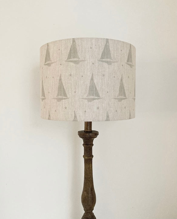 Peony & Sage Yacht Club Linen Lampshade -  French Shutter Grey on a Stone Background