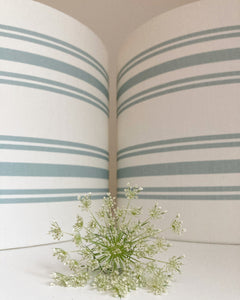 Meg Morton Striped Linen Lampshade - Aqua on White
