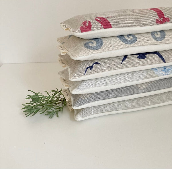 Eye Pillow Seahorses - Gustavian Blue on Cream Chunky Scottish Linen