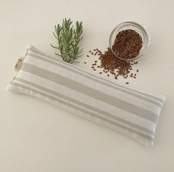 Eye Pillow Dorset Stripe - Millstone on White