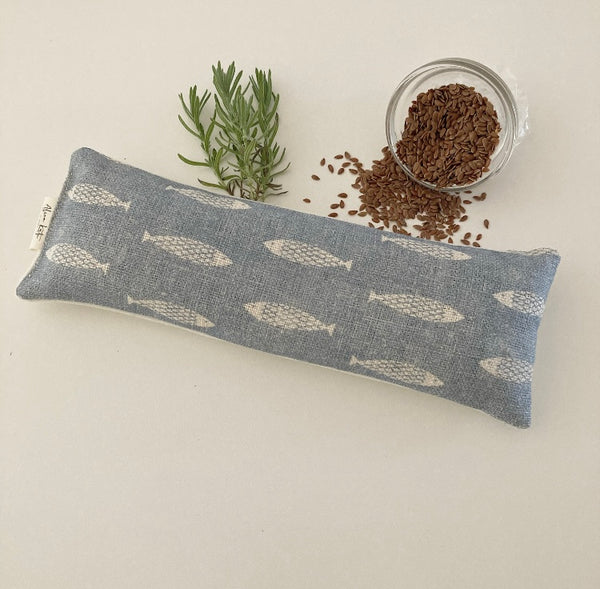 Eye Pillow Fish - Weathered Blue on Chunky Cream
