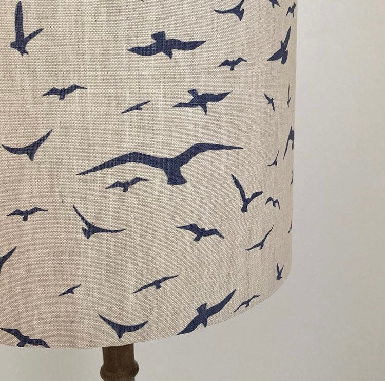 Peony & Sage Seagull Linen Lampshade - Navy on Stone