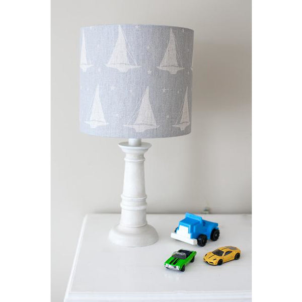Peony & Sage Yacht Club Linen Lampshade -  Stone on a Heavy Rain Background