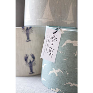 Peony & Sage Seagull Linen Lampshade - Oatmeal Seagulls on a Stone Blue Background