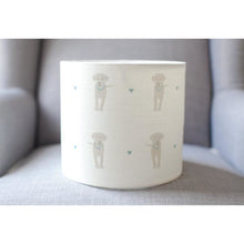Olive & Daisy Puppy Love Linen Lampshade - Sand Colored Puppies on Cream with Blue Hearts