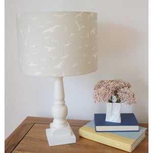 Peony & Sage Seagull Linen Lampshade - Ivory Seagulls on a Gustavian Grey background