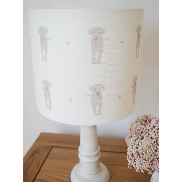 Olive & Daisy Puppy Love Linen Lampshade - Sand Colored Puppies on Cream with Pink Hearts