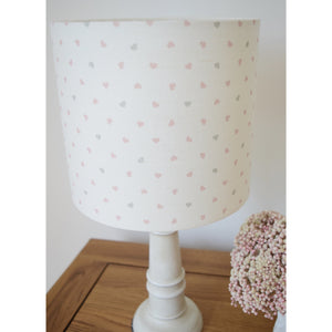 Olive & Daisy Hearts Linen Lampshade - Pink and Grey Colored Hearts on Cream Background