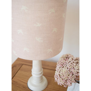 Olive & Daisy Skylarks Linen Lampshade - Cream Skylarks on a Rose Pink Background