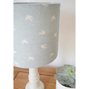 Olive & Daisy Skylarks Linen Lampshade - Cream Skylarks on a Powder Blue Background