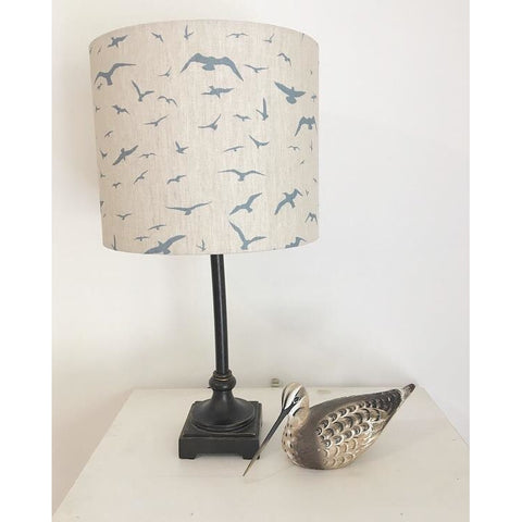 Peony & Sage Seagull Linen Lampshade - Old Blue in Stone Linen