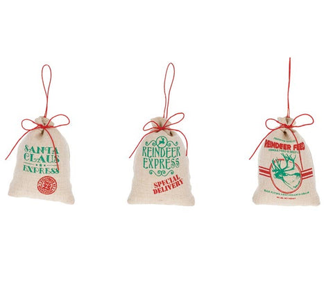 BURLAP SACK MESSAGE ORNAMENTS