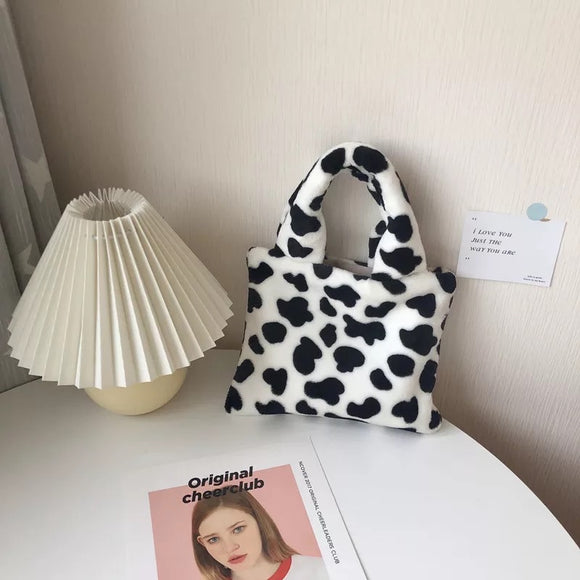Cow Print Plush Handbag